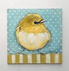 bird painting 5x5 original impressionistic oil painting of a little yellow bird bird paintings pre order
