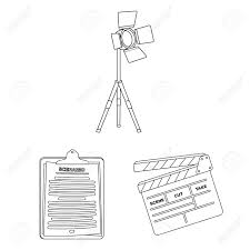 Design Attributes Making A Movie Outline Icons In Set Collection For Design Attributes