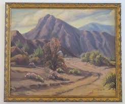 LILLIAN GRIFFITH (b.1889) ANTIQUE EARLY CALIFORNIA DESERT LANDSCAPE OIL  PAINTING | #517292545