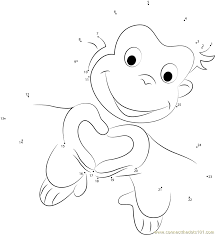 Valentines Day Curious George dot to dot printable worksheet ...
