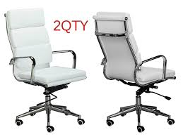 soft pad group management chair hivemodern eames charles and ray replica white leather high back cusion management office