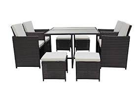 space saving patio furniture. Modern 8 Piece Space Saving Outdoor Furniture Dining Set, Patio Rattan Table And Chairs Set E