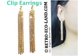 4c rel rhinestone dangle crystal gold chain chandelier dangling clip on earrings tassel