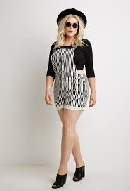 plus size overalls shorts lyst forever 21 plus size striped overall shorts in black