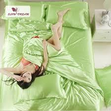 slowdream light green silk satin bedding set solid color bed linen silver duvet cover set soft tencel flat sheet or white duvet cover full black duvet