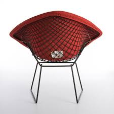 Original Vintage Knoll Black Harry Bertoia Diamond Chair with Red ...