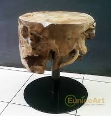 teak root round coffee table with iron leg