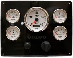 black volvo engine instrument panel white gauges 9 75″ x 7 5 volvo penta engine instrument pane