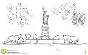 статуя свободы с иллюстрацией фейерверка иллюстрация вектора