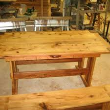 hickory and oak mission style dining table by rick hensley