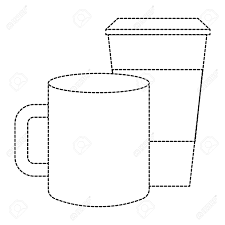 Dotted Line Template Ceramic And Paper Coffee Cup Empty Template For Corporate Identity