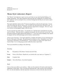 Memo Style Laboratory Report