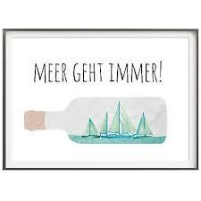 Druck Kunstdruck A4 Spruch Meer Geht Immer Urlaub Ozean Fernweh