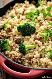 one pot sausage and rice with broccoli