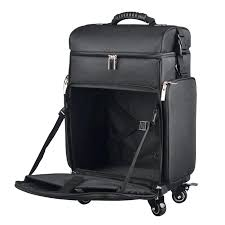 rolling makeup train case professional nylon artist wheeled trolley cosmetic c
