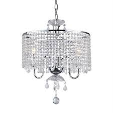 warehouse of tiffany 3 light chrome crystal drum chandelier