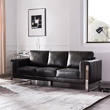 maklaine leather sofa with metal leg in