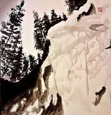 snowy mountain chinese brush painting sumi e by leehenrik