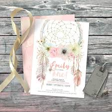 dreamcatcher boho 1st birthday invitation digital printable files feathers roses peonies watercolor pastel first customisable 012cmp