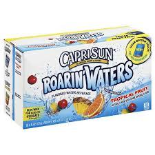 capri sun roarin waters flavored water beverage tropical fruit fridge ready pack