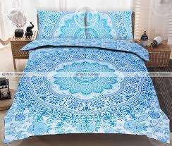 queen size blue ombre hippie cotton mandala boho mandala bedspread with pillow set
