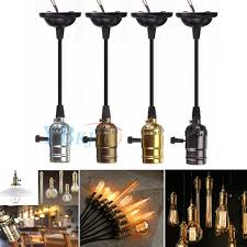 e27 retro vintage pendant hanging light bulb lamp holder socket w swicth wire