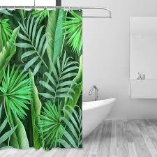 description tropical plant bathroom curtain 60x72 inch long green leaves