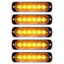 Strobe Light Bar Amazon 5pcs Amber 18w 6 Led Warning Emergency Flashing Strobe Lights Bar Surface Mount 12v 24v