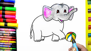 colorful elephant drawings. Simple Colorful Draw Color Paint Cute Elephant Coloring Page And Learn Colors For Kids With Colorful Drawings R