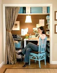 office closet design. Office In A Closet Blue And Brown Small Space Home Design