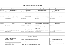Class Schedule Columbus Academy For Lifelong Learning