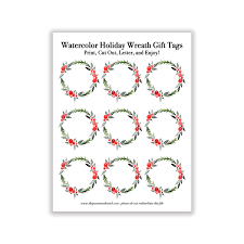 Printable Watercolor Holiday Wreath Gift Tags
