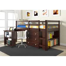 dual desk bookshelf small. Donco Kids Low Study Loft Desk Twin Bed With Chest And Bookcase (Cappuccino) Dual Bookshelf Small U