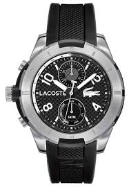 men s lacoste tanga black silicone strap watch 2010759