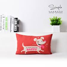 lumbar throw pillow. 50*30cm Rectangle Pillowcase Linen Lumbar Throw Pillows Decorative Cute Dogs Cushion Cover Blue Red Green Animals Home Gift-in From Pillow H