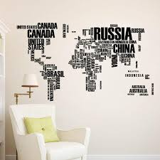 2016 new design wall sticker map of the world for learning study art words sayings vinyl wall decals wall paper posters 3 colors on artistic wall decal with 2016 new design wall sticker map of the world for learning study art