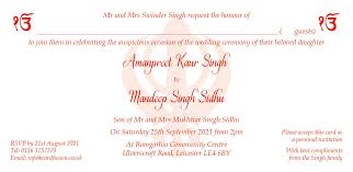 Sikh Wedding Invitation Wordings And Templates By Card Fusion