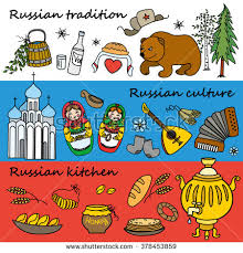 russian symbols travel russia russian traditions stock vector  russian symbols travel russia russian traditions set of colorful flat style design icons