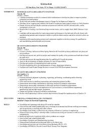 Download Quality & Reliability Engineer Resume Sample as Image file