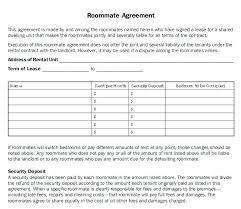 Sample Roommate Contract Roommate Rental Agreement Template Kazakia Info