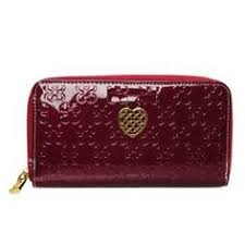 Coach Waverly Hearts Accordion Zip Large Red Wallets DVH Zip Around Wallet,  Coin Purses,