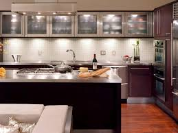 glass kitchen backsplash with stainless steel and glass cabinet doors plus top counter combine cherry wood counter cabinet wall ideas