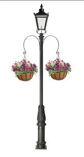 Garden Lamp Post With 2 Curved Brackets And Hanging Baskets