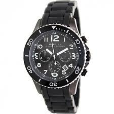 marc by marc jacobs mbm2583 men rock chrono black dial silicone marc by marc jacobs mbm2583 men rock chrono black dial silicone covered black plated bracelet watch