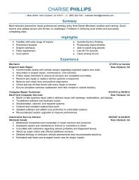 Mechanic Resumes Templatesmotive Technician Resume No Experience