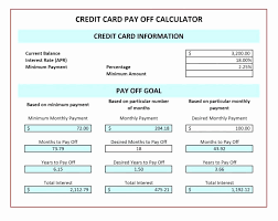 Cc Payoff Calculator Credit Card Payment Calculator Excel Fresh Excel Debt Payoff