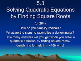 1 5 solving quadratic equations by finding square roots