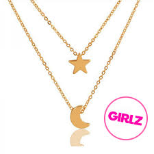 gold moon and star layered necklace hear to more layered necklaces