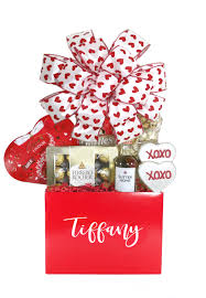 red valentine gift basket for her array of gifts houston tx delivery