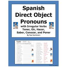 Direct Object Pronouns & Irregular Present Tense Verbs Worksheet